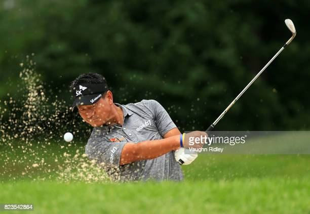 J Choi of Korea plays his shot out of the bunker on the eighth hole during round one of the RBC Canadian Open at Glen Abbey Golf Club on July 27 2017...