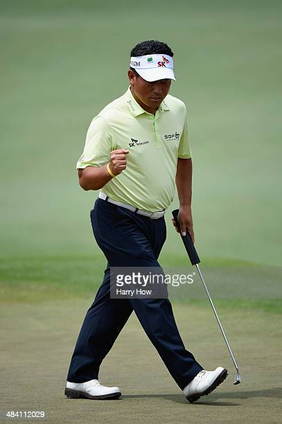 J Choi of Korea reacts after a birdie on the second hole during the second round of the 2014 Masters Tournament at Augusta National Golf Club on...
