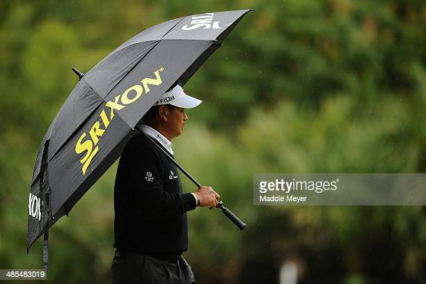J Choi of Korea walks the 12th green during the second round of the RBC Heritage at Harbour Town Golf Links on April 18 2014 in Hilton Head Island...