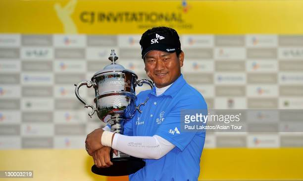 Choi of Korea with the winner's trophy during round four of the CJ Invitational at Haesley Nine Bridges Golf Club on October 23 2011 in Yeojugun...