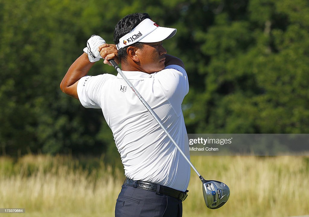 <a gi-track='captionPersonalityLinkClicked' href=/galleries/search?phrase=K.J.+Choi&family=editorial&specificpeople=183372 ng-click='$event.stopPropagation()'>K.J. Choi</a> of South Korea hits a drive during the second round of the John Deere Classic held at TPC Deere Run on July 12, 2013 in Silvis, Illinois.