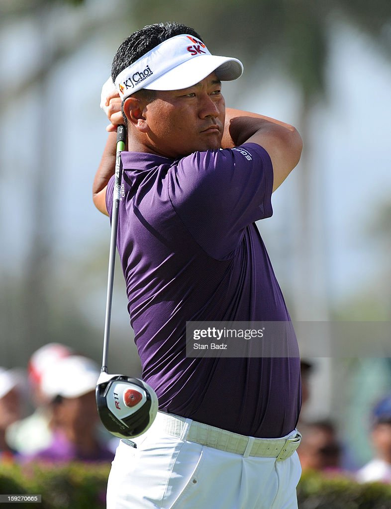 <a gi-track='captionPersonalityLinkClicked' href=/galleries/search?phrase=K.J.+Choi&family=editorial&specificpeople=183372 ng-click='$event.stopPropagation()'>K.J. Choi</a> of South Korea hits a drive on the tenth hole during the first round of the Sony Open in Hawaii at Waialae Country Club on January 10, 2013 in Honolulu, Hawaii.