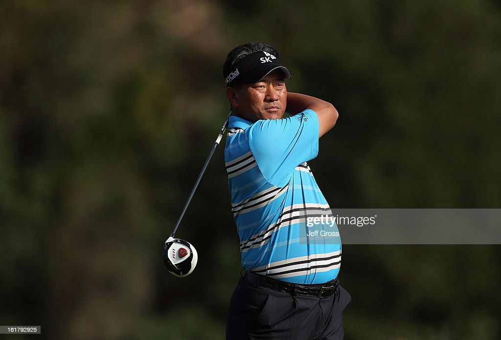 K.J. Choi of South Korea hits a shot during the second round of the Northern Trust Open at Riviera Country Club on February 15, 2013 in Pacific Palisades, California.