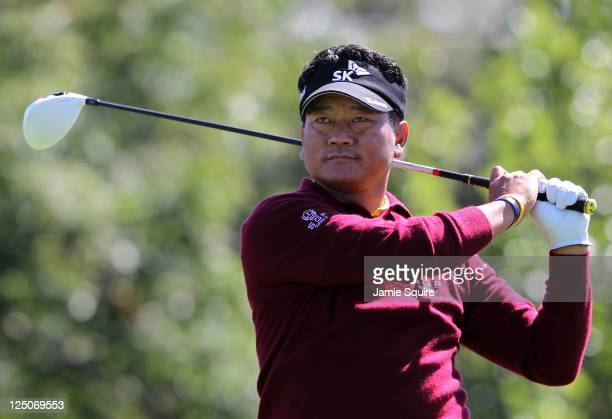 J Choi of South Korea hits his first shot on the 11th hole during the first round of the BMW Championship at Cog Hill Golf Country Club on September...
