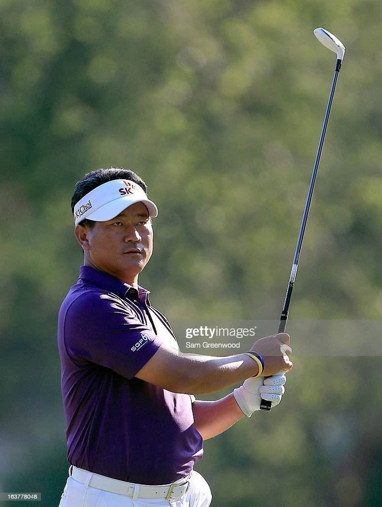 <a gi-track='captionPersonalityLinkClicked' href=/galleries/search?phrase=K.J.+Choi&family=editorial&specificpeople=183372 ng-click='$event.stopPropagation()'>K.J. Choi</a> of South Korea plays a shot on the 17th hole during the second round of the Tampa Bay Championship at the Innisbrook Resort and Golf Club on March 15, 2013 in Palm Harbor, Florida.