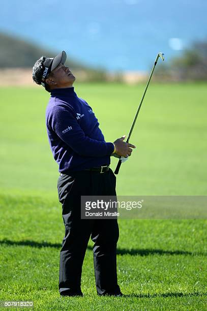 J Choi of South Korea reacts to a shot on the 17th hole during the final round of the Farmers Insurance Open at Torrey Pines South on February 1 2016...