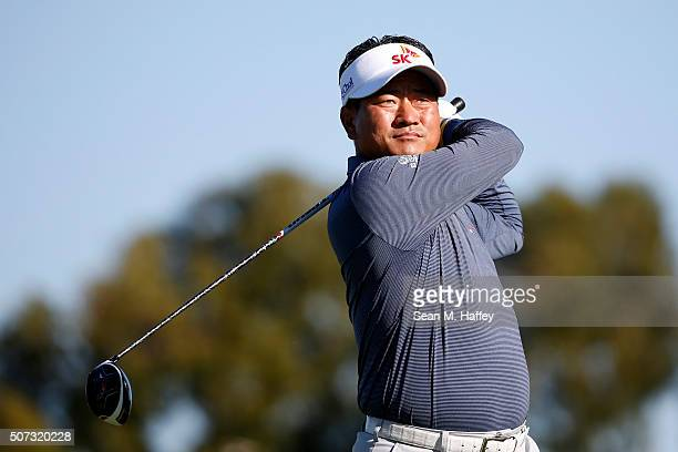 J Choi of South Korea tees off on the 2nd hole during Round 1 of the Farmers Insurance Open at Torrey Pines South on January 28 2016 in San Diego...