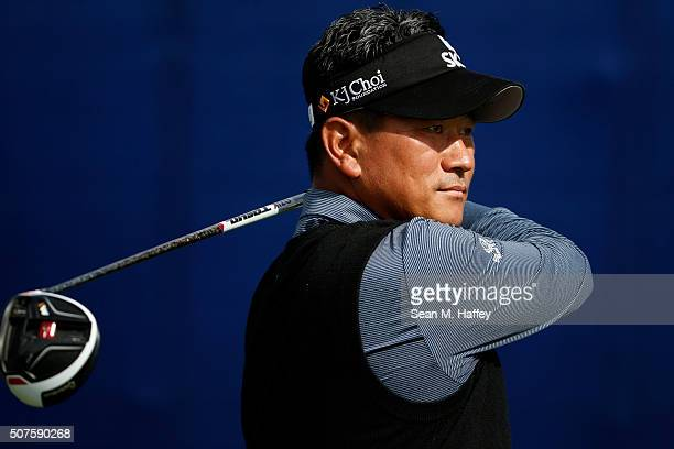 J Choi of South Korea tees off on the 9th hole during Round 3 of the Farmers Insurance Open at Torrey Pines South on January 30 2016 in San Diego...