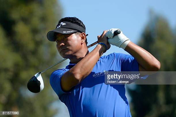 J Choi of South Korea tees off on the second hole during the final round of the Northern Trust Open at Riviera Country Club on February 21 2016 in...