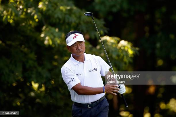J Choi of South Korea watches his tee shot on the sixth hole during the second round of the John Deere Classic at TPC Deere Run on July 14 2017 in...