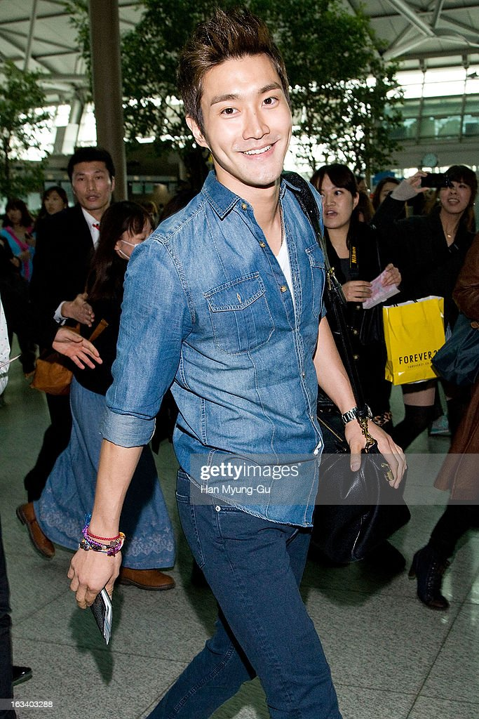 Choi Si-Won (Siwon) of South Korean boy band Super Junior is seen on departure at Incheon International Airport on March 8, 2013 in Incheon, South Korea.