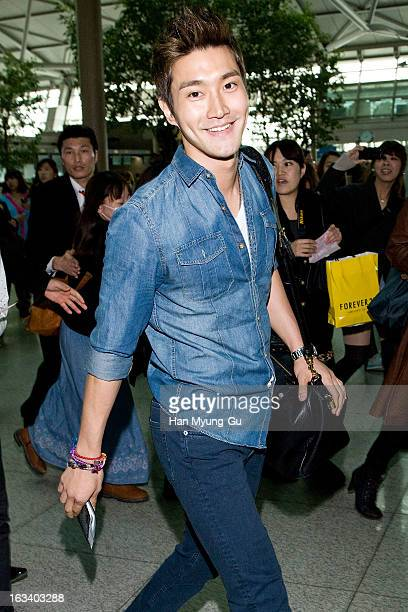 Choi SiWon of South Korean boy band Super Junior is seen on departure at Incheon International Airport on March 8 2013 in Incheon South Korea