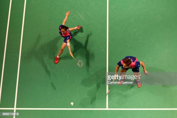 Choi Solgyu and Chae Yoo Jung of Korea compete against Gabrielle Adcock and Chris Adcock of England during their R16 match against during the...