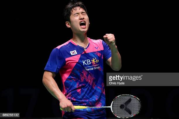 Choi Solgyu of Korea celebrates a point during the Final match against China during the Sudirman Cup at the Carrara Sports Leisure Centre on May 28...