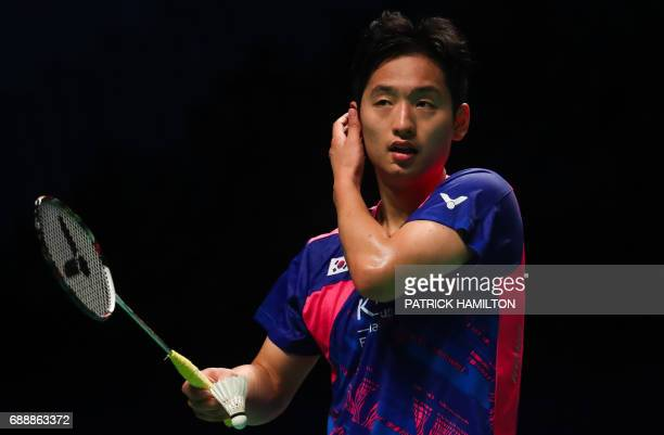 Choi Solgyu of South Korea reacts during the mixed doubles Sudirman Cup match with partner Chae Yoo Jung against Dechapol Puavaranukroh and Sapsiree...