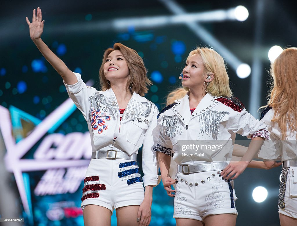Choi Soo-young and Kim Hyo-yeon of Girls' Generation perform at the 2015 K-Pop Festival at Prudential Center on August 8, 2015 in Newark, New Jersey.