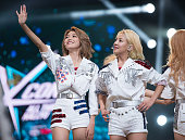 Choi Sooyoung and Kim Hyoyeon of Girls' Generation perform at the 2015 KPop Festival at Prudential Center on August 8 2015 in Newark New Jersey