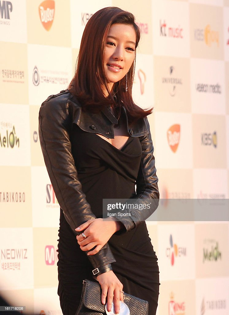 Choi Yun-So poses for photographs upon arrival during '2nd Gaonchart K-pop Awards' at Olympic Hall on February 13, 2013 in Seoul, South Korea.