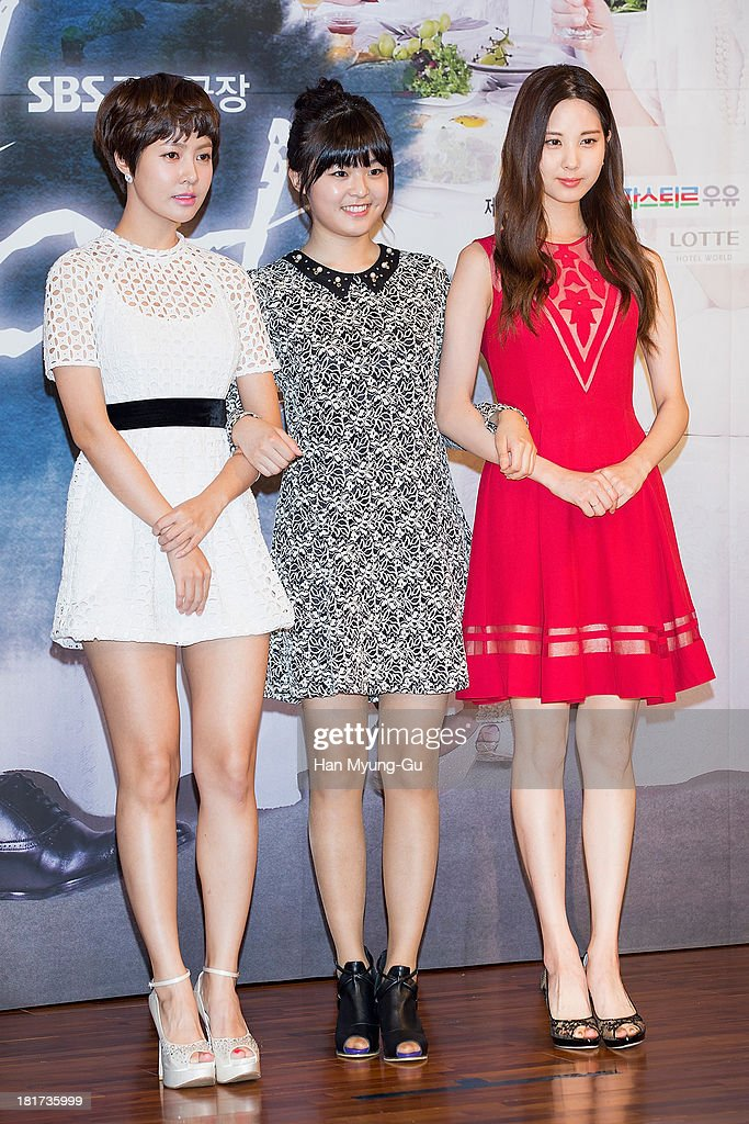 Choi Yun-Young, Lee Hye-In and Seohyun of South Korean girl group Girls' Generation attend SBS Drama 'Hot Love' press conference at 63 building on September 23, 2013 in Seoul, South Korea. The drama will open on September 28, in South Korea.