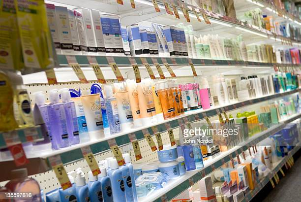 Choices for skin cream at a CVS drugstore, Boston, MA