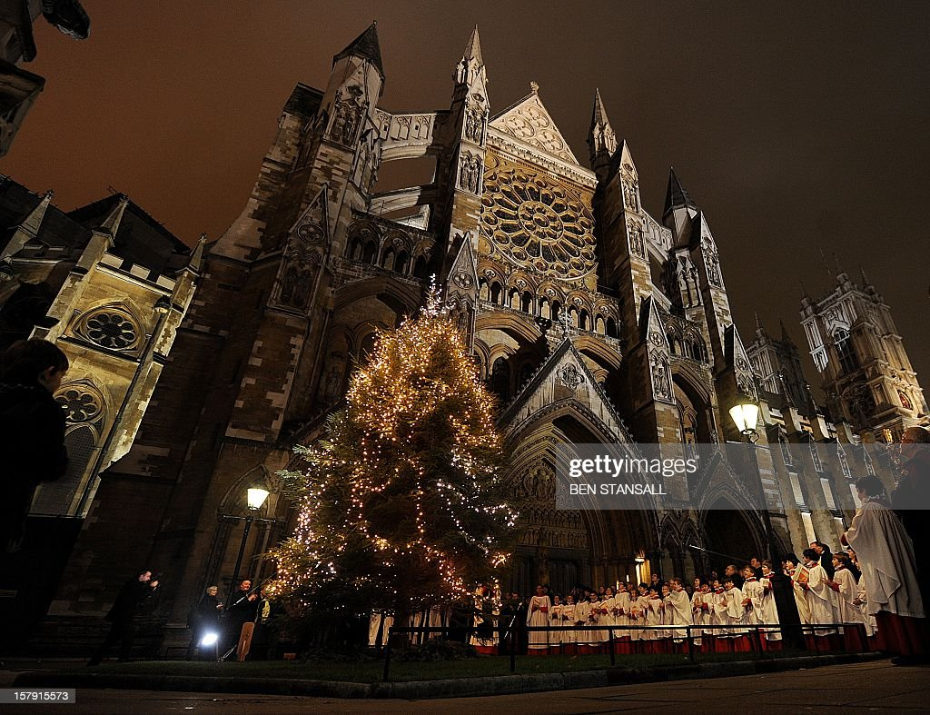 Choir boys stand by a Christmas tree in front of the Westminster Abbey in London on December 6 2010 AFP PHOTO/BEN STANSALL