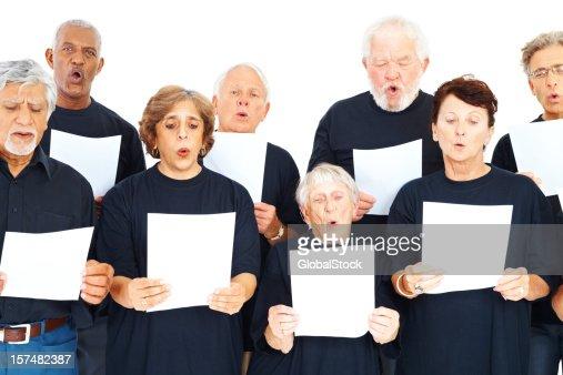 Coro grupo de personas con notas en blanco