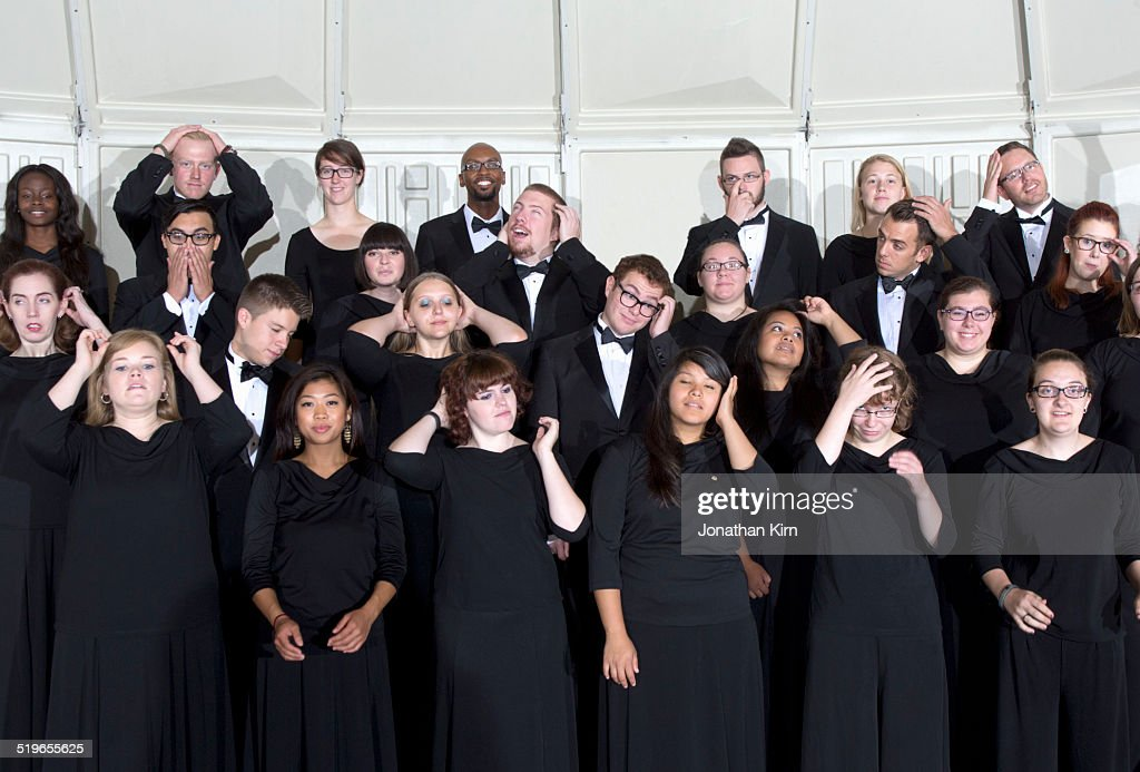 Choir group readies themselves for a photograph
