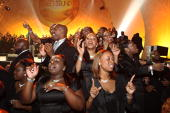 Choir members perform at the conclusion of the 2008 Verizon Wireless 'How Sweet the Sound' gospel tour at the Wachovia Center September 23 2008 in...