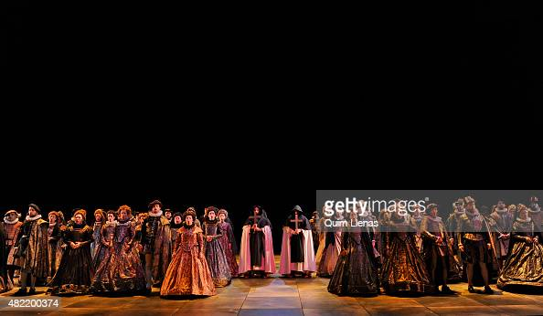 Choir members perform during the dress rehearsal of the opera 'Don Carlo' by Giuseppe Verdi on stage at the Auditorium of San Lorenzo de El Escorial...