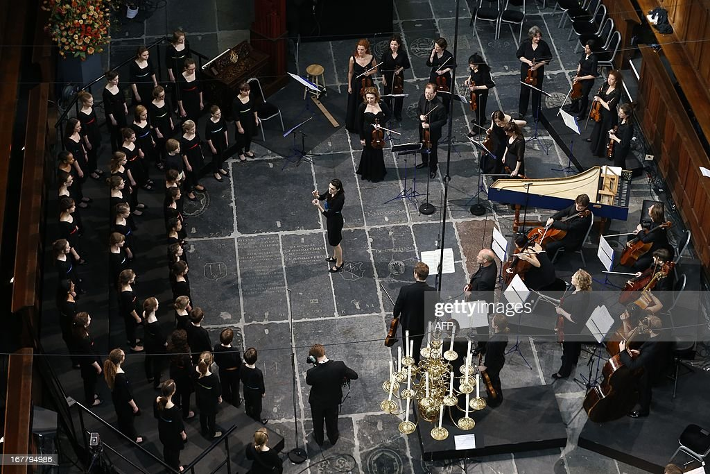 A choir of children sing at the start of the inauguration of King Willem-Alexander at Nieuwe Kerk or New Church in Amsterdam on April 30, 2013. JANNINK