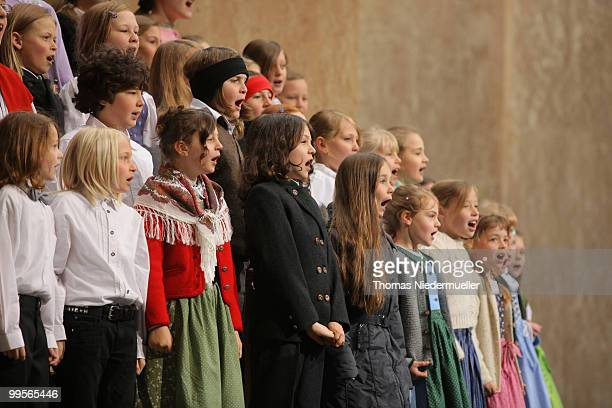 A choir of children sing the ecumenical service prior to the premiere of the Passionplay 2010 on May 15 2010 in Oberammergau Germany The Passionplay...