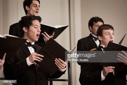 Choir performing on stage