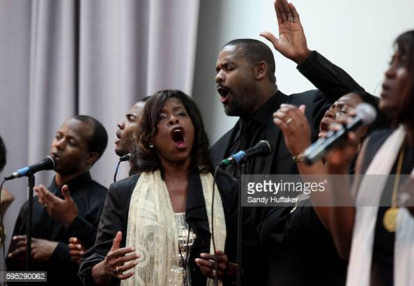 Choir singers perform Gospel tunes during a worship service at the True Love Worship Center in Van Nuys CA on Sunday July 31 2011