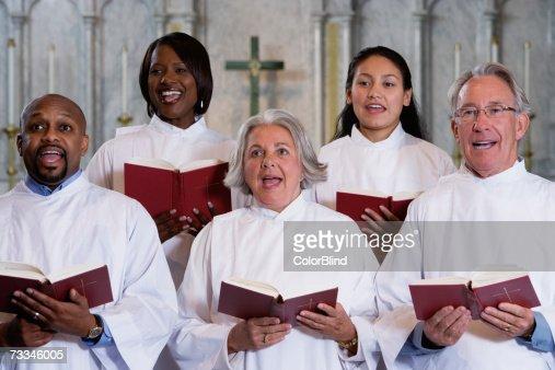 Choir singing in church