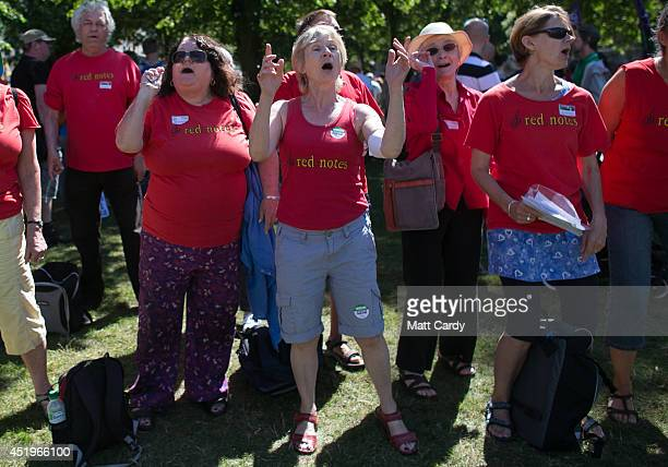 A choir sings as public sector workers taking industrial action protest in the centre of Bristol on July 10 2014 in Bristol England Over one million...