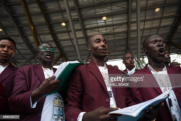A choir sings at Namugongo Martyrs' Shrine in Namugongo a suburb of Kampala within an open air mass held by Pope Francis on November 28 2015 Pope...