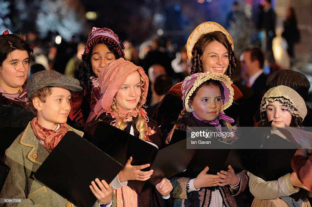 A choir sings christmas carols during for the World Film Premiere of Disney's 'A Christmas Carol' at the Odeon Leicester Square on November 3 2009 in...
