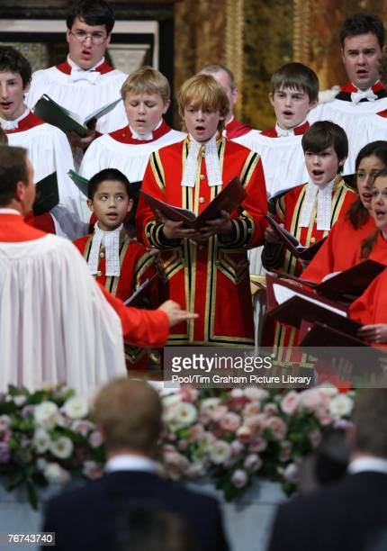 Choir sings during the Service of Thanksgiving the 10th Anniversary Memorial Service For Diana Princess of Wales at Guards Chapel at Wellington...