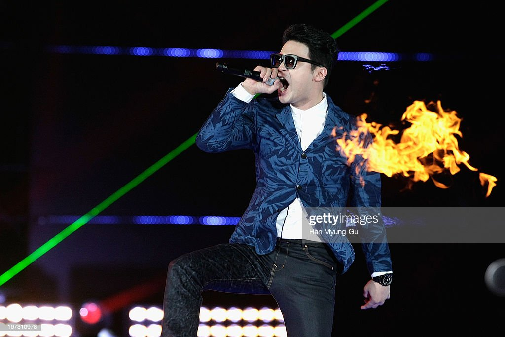 Choiza of South Korean hip hop band Dynamic Duo performs onstage during day two of the K-Pop Collection at Olympic Gymnasium on April 21, 2013 in Seoul, South Korea.