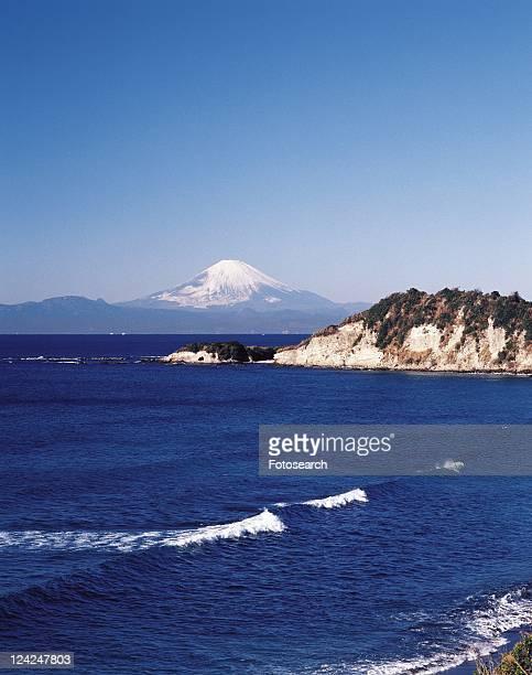 Chojagasaki Cape and Mt. Fuji, Shonan, Kanagawa Prefecture, Japan, High Angle View, Pan Focus