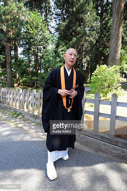 Chojun Kanno Executive Director of the Chusonji temple stands in the grounds of the temple on May 29 2011 in Hiraizumi Japan Iwate Prefecture's...