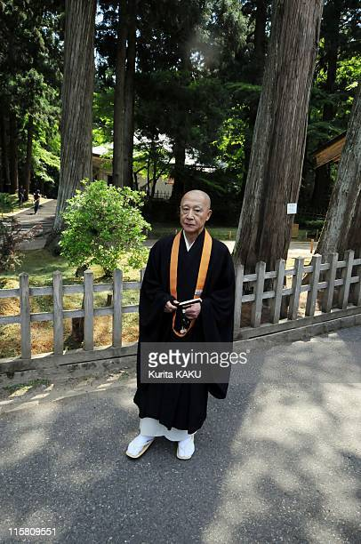 Chojun Kanno Executive Director of the Chusonji temple standsin the grounds of the temple on May 29 2011 in Hiraizumi Japan Iwate Prefecture's...