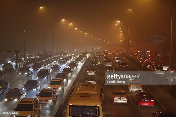 Choking smog blanketed Beijing on November 30 2015 in Beijing China The representatives of the governments of more than 190 countries are meeting in...