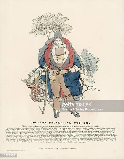 Cholera Preventive Costume' print England 1832 Print Lithograph hand coloured `Cholera preventive costume' London Published by T McLean Haymarket...
