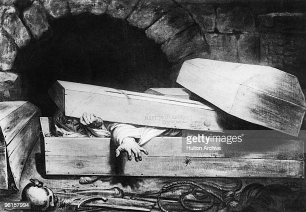 A cholera victim awakens to find themselves already in their coffin 1854 'L'Inhumation Precipitee' or 'The Premature Burial' by Belgian artist...
