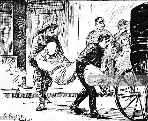 CholeraEpidemie in Hamburg 1892Krankentranport per DroschkeZeichnung nach Schubilski