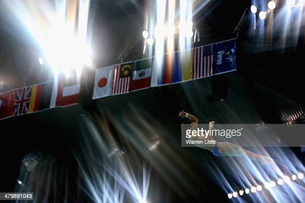 Chong He of China dives in the Men's 3m Springboard finals during day two of the FINA/NVA Diving World Series 2014 at the Hamdan Sports Complex on...