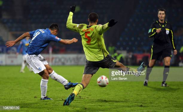 Chong Tese of Bochum scores his teams first goal during the Second Bundesliga match between VfL Bochum and Erzgebirge Aue at Rewirpower Stadium on...