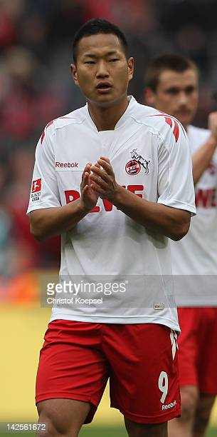 Chong Tese of Koeln looks dejected after the 11 draw of the Bundesliga match between 1 FC Koeln and SV Werder Bremen at RheinEnergieStadion on April...