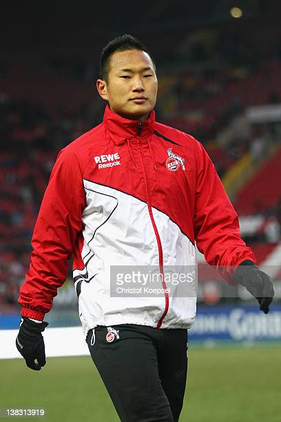 Chong Tese of Koeln warms up prior to the Bundesliga match between 1 FC Kaiserslautern and 1 FC Koeln at FritzWalterStadium on February 5 2012 in...